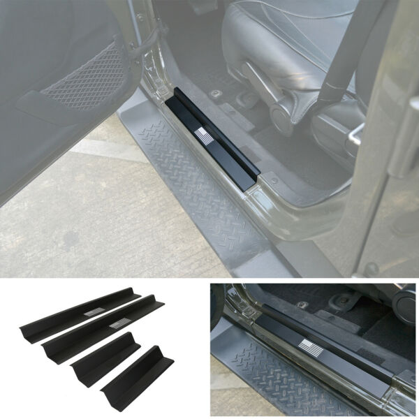 Aluminum Door Sill Entry Guard Scuff Plate Protector For 07 18 Wrangler JK 4Dr