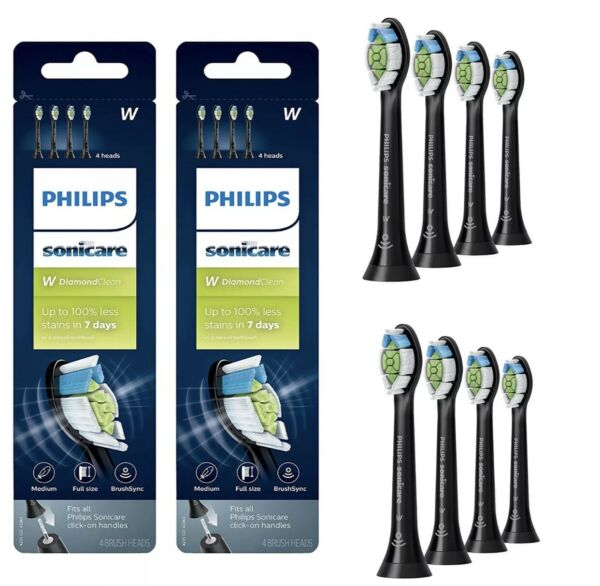 Philips Sonicare DiamondClean Toothbrush Head 2 x 4 Pack Black HX606495 - US