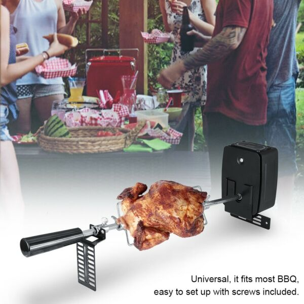 BBQ Rotisserie Grill Spit Roaster Electric Motor Stainless Lamb Skewer Outdoor
