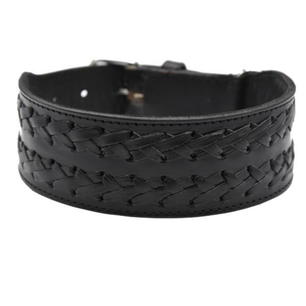 Black Leather Dog Collar 2quot; Wide Braided Stripe Pet Collar Heavy Duty Pit Bull $21.63