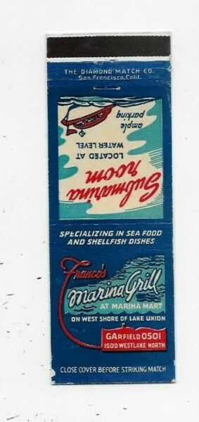 Vintage Matchbook Cover Franco's Marina Grill Seattle WA 3560