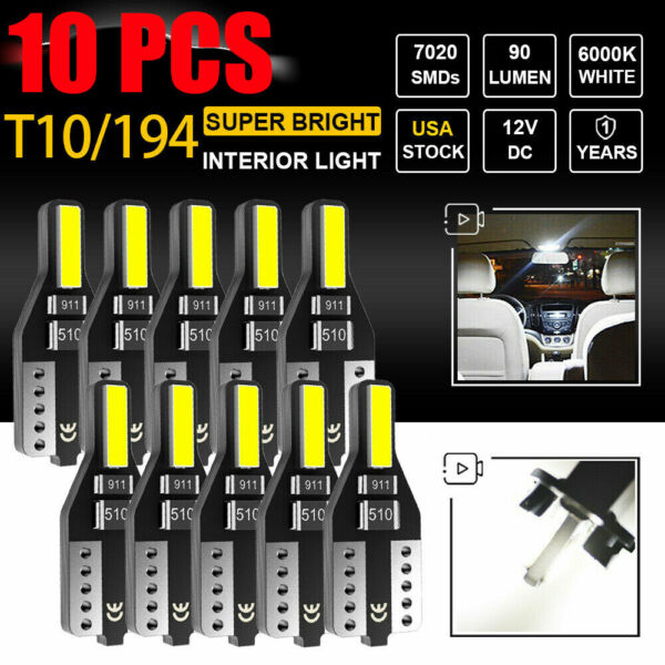 10X AUXITO T10 194 168 LED CANBUS License Plate Interior Wedge Light Bulbs White $5.99