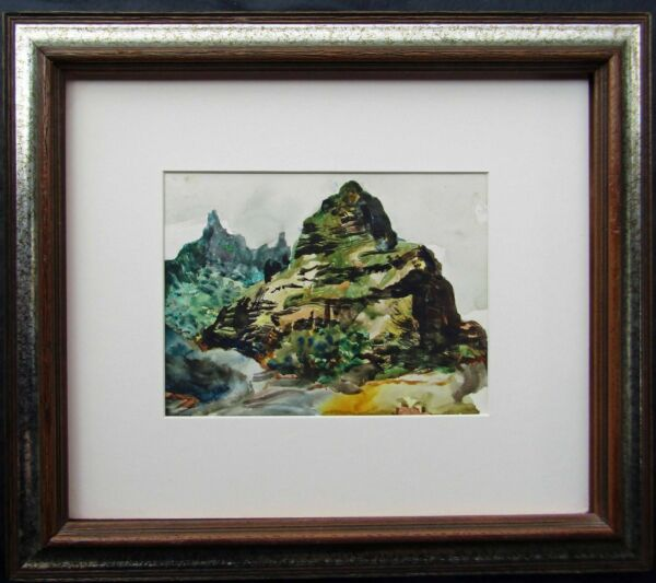 LISTED Peter Hurd ORIGINAL Hawaii MAUI NEEDLE Watercolor Painting NO RESERVE