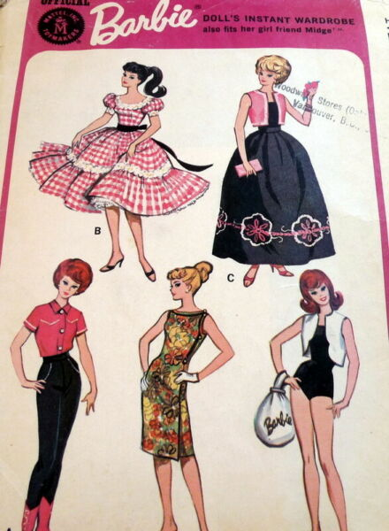 """VTG 1960s 11 12"""" BARBIE DOLL Clothing SEWING PATTERN McCall's 7137"""