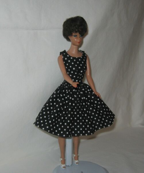 Handmade SHORT Vintage Look Black with White Dots Print Dress FOR Dolls