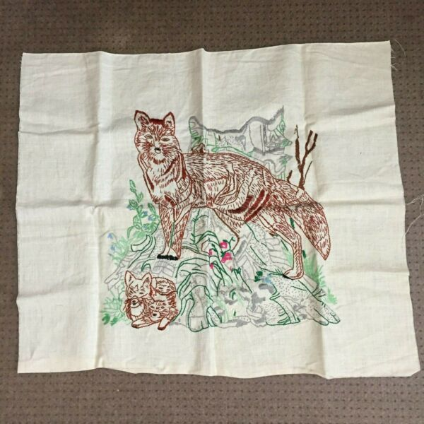 vintage panel embroidery fox family on rock linen brown green gray 27 x 23