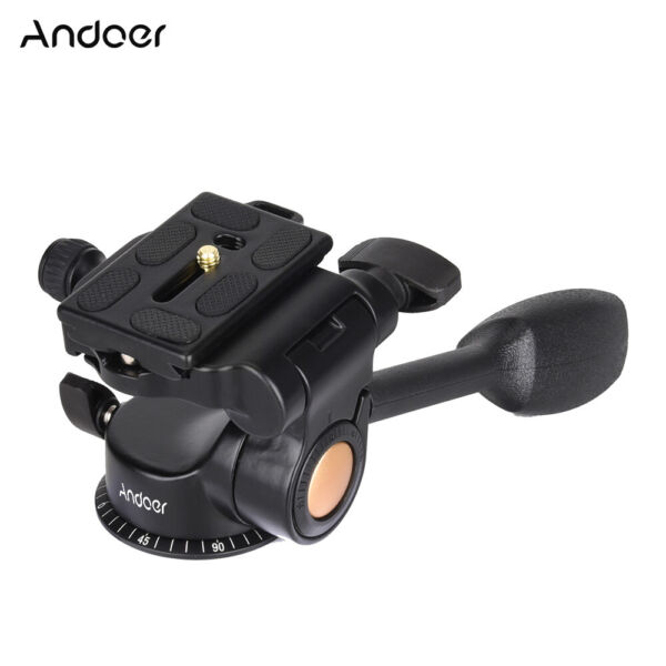 Video Tripod Ball Head 3 way Fluid Head Rocker Arm with Quick Release Plate R1Q4
