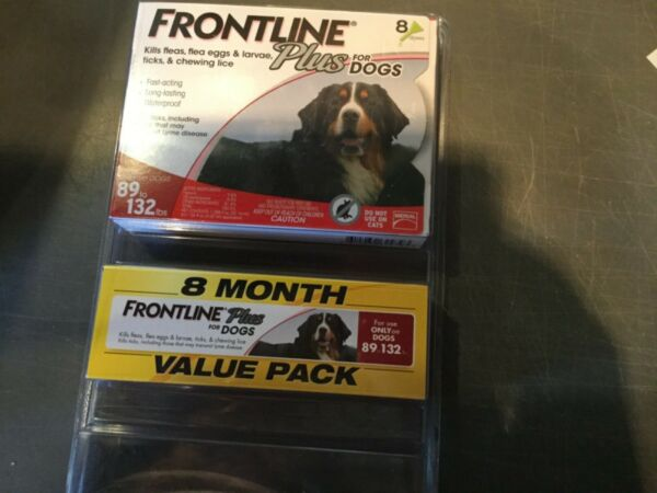 FRONTLINE PLUS FLEA AND TICK CONTROL FOR DOG 89 132 LBS 8 MONTHS SUPPLY USA $67.00