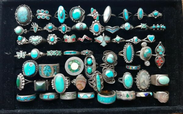 Nice Lot Of 58 Sterling Old Pawn Native American & Other Vintage Sterling Rings