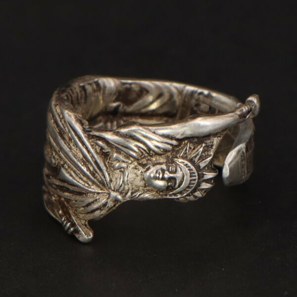 VTG Sterling Silver - NYC Statue of Liberty Spoon Handle Ring Size 8.5 - 11g