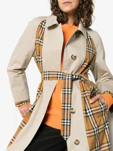 NEW BURBERRY Burberry Guiseley Check Women Trench Coat Authentic $2990 Sz10 $1298.00