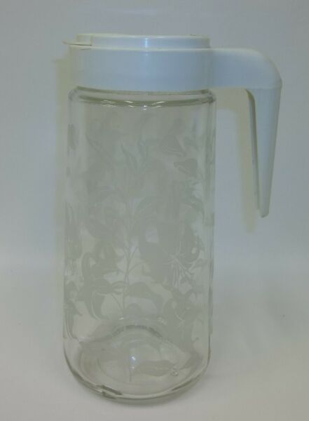 Vintage TANG 1 QT Glass Pitcher with White Lily Flower Etched Design