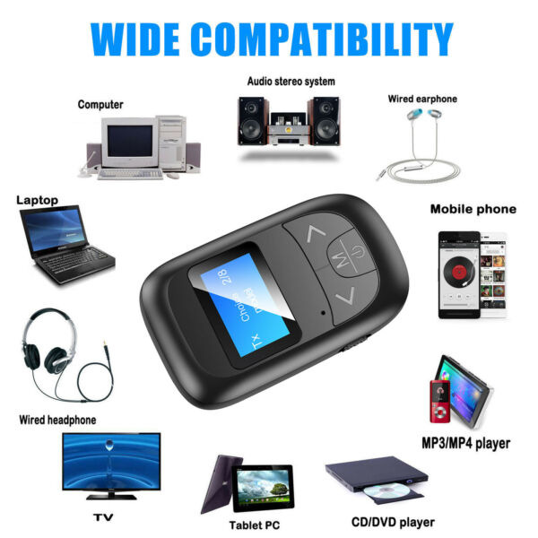 Bluetooth 5.0 Transmitter Receiver 4 IN 1 Wireless Audio 3.5mm USB Aux Adapter $13.38