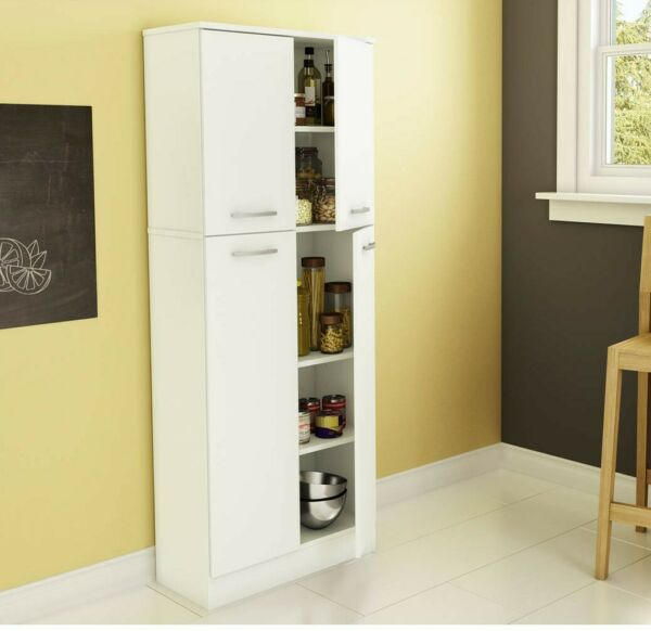 4 Door Storage Pantry Cabinet Food Kitchen Organizer 5 Shelves Large Tall White