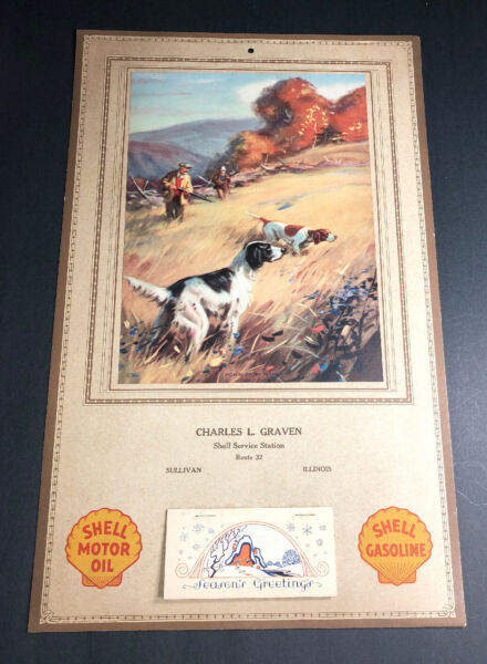 1930 Shell Oil Gas Calendar Sign Service Station Sullivan Illinois Hunting Dogs
