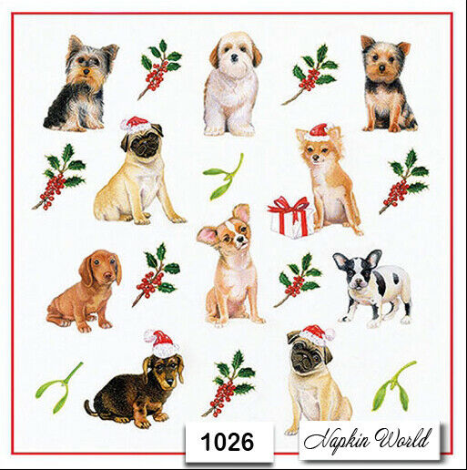 1026 TWO Individual Paper LUNCHEON Decoupage Napkins CHRISTMAS DOGS PUPPIES $1.98