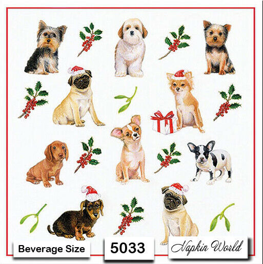 5033 TWO Individual Paper BEVERAGE COCKTAIL Decoupage Napkins CHRISTMAS DOGS $1.90
