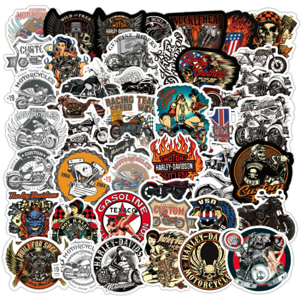 50pcs Motorcycle Rider Racing Stickers for Skateboard Luggage Laptop Bike Helmet