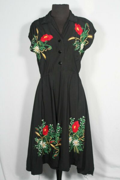 RARE FRENCH VINTAGE WWII ERA 1940#x27;S FLORAL EMBROIDERED RAYON DRESS SIZE 6 8