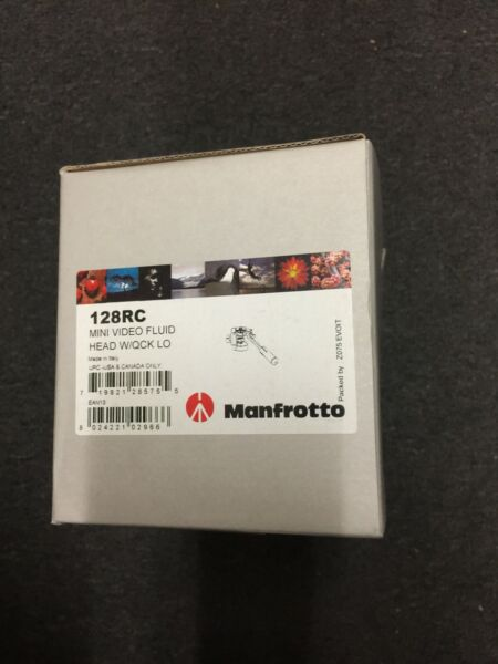 Manfrotto 128RC Mini Video Fluid Head W QCK LO MADE IN ITALY NEW OPEN BOX