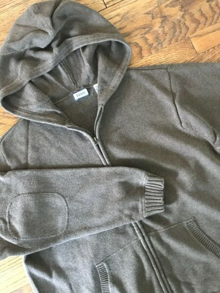 Izod Brown Cotton Elbow Patch Long Sleeve Hooded Full Zip Sweater Cardigan 2XL