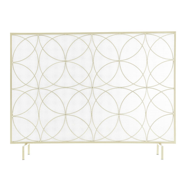 Single Panel Freestanding Fireplace Screen Spark Guard Protector Gate gold