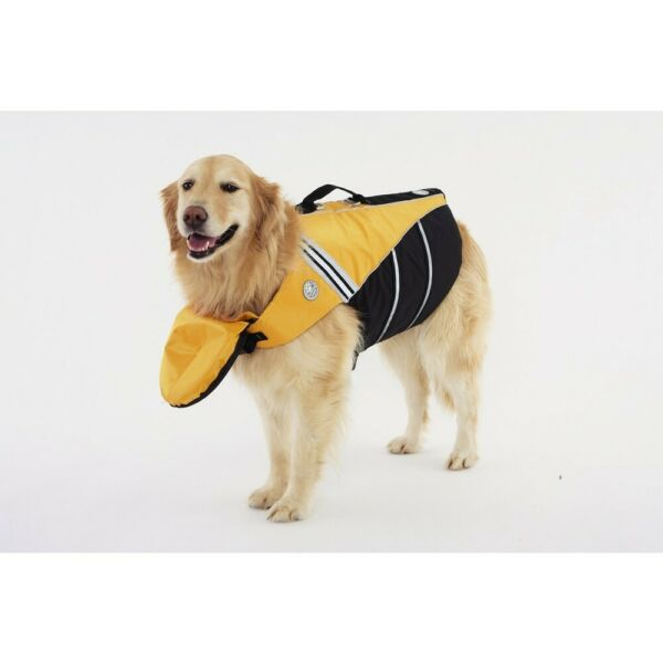 NWT Doggles Sierra Dog Supply Preserver Life Jacket Yellow Black 20quot; Large $29.99