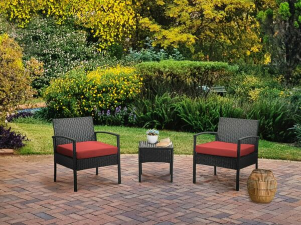 Patio Outdoor Chairs 3pcs Rattan Wicker Sofas Furniture Sets Suit To Backyard $123.99