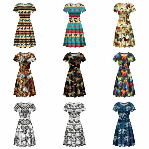 Aztec Horse Elephant Dress Costumes Short Sleeve with Round Neck Maxi Fit Womens $22.99