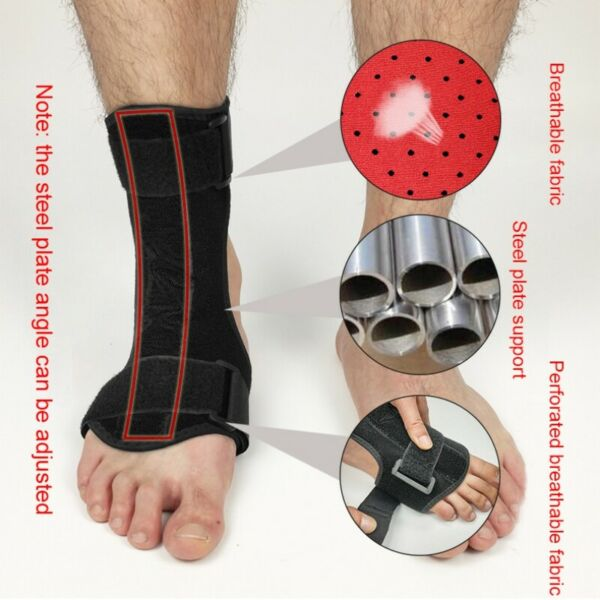 Foot Drop Orthosis Brace Aluminum Ankle Plantar Fasciitis Splint Support Strap