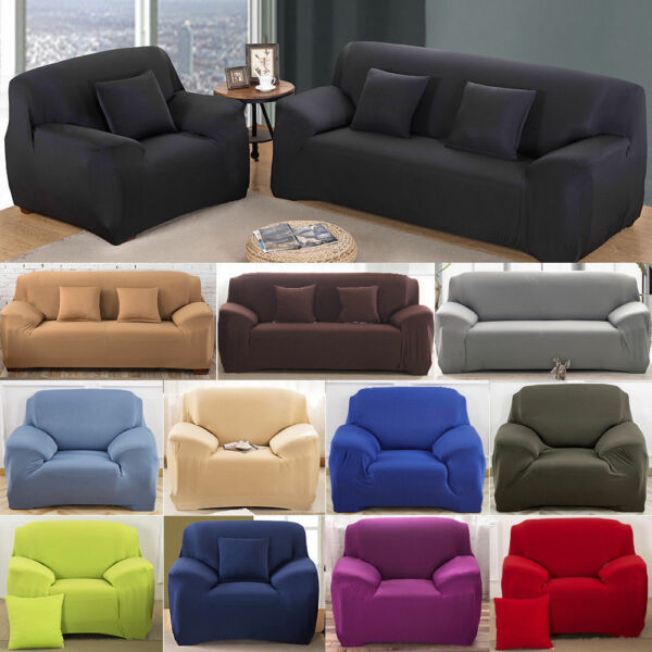 1 2 3 4 Seater Sofa Cover Stretch Recliner Covers Couch Elastic Slipcovers US