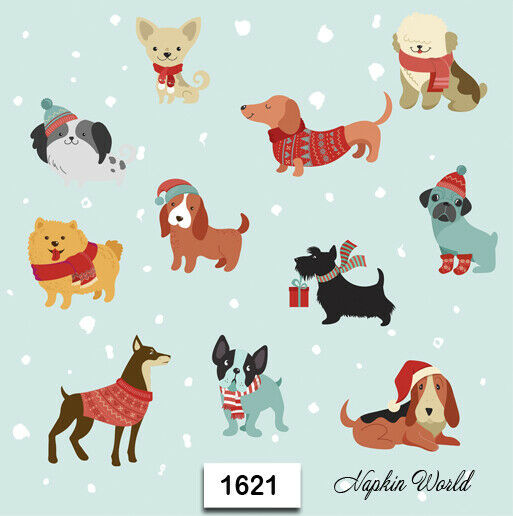 1621 TWO Individual Paper LUNCHEON Decoupage Napkins CHRISTMAS DOGS PUPPIES $1.98