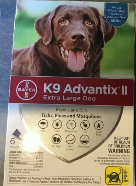 K9 ADVANTIX II FLEA AND TICK CONTROL DOGS OVER 55 LBS 6 PACK NEW IN BOX USA $59.00