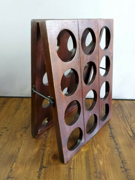 Wine Champagne Riddling Rack Collapsible Wood Latch Small 24 Bottles $114.99
