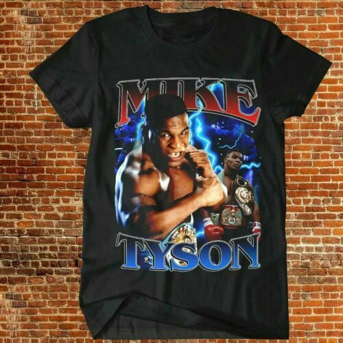 Vintage Mike Tyson Boxing Short Sleeve Black Men T shirt AA146