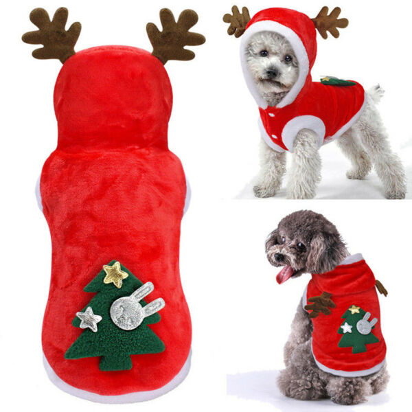 Pet Cat Santa Costume Dog Christmas Small Coat Outfit Clothes Jumper Xmas Hoodie $5.86