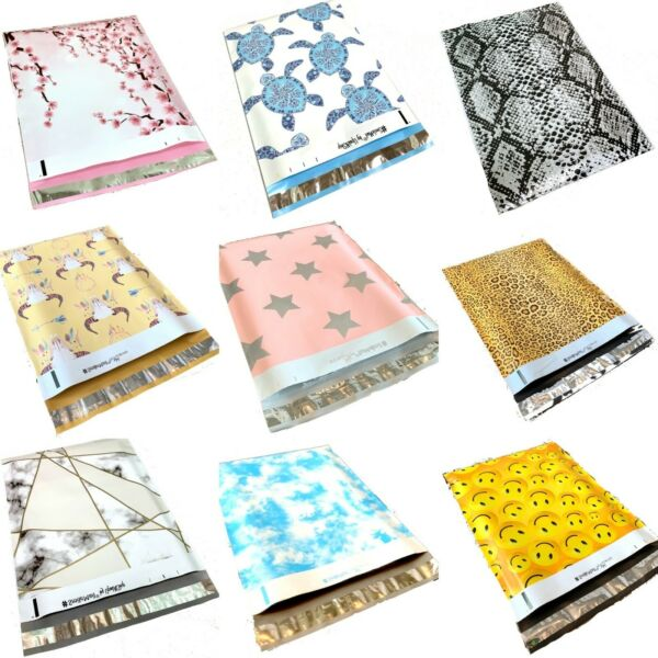 100 Designer Poly Mailers Plastic Envelopes Shipping Bags Custom #SmileMail® $11.95