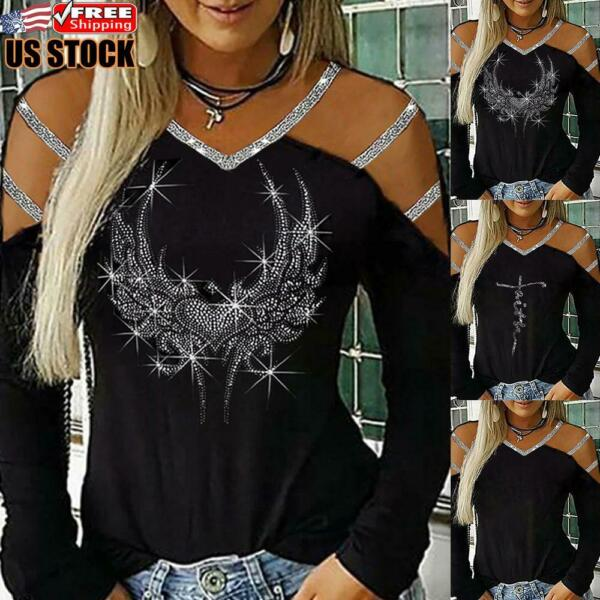 Women#x27;s Cold Shoulder Long Sleeve Blouse Tee Ladies Casual V Neck Tops T Shirt $15.39