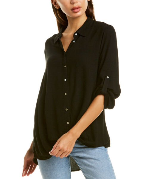 Bobi Twisted Shirt Women#x27;s Black L