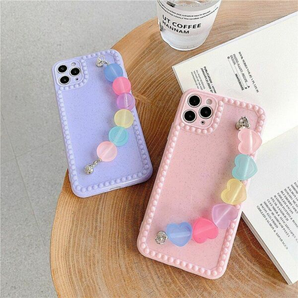Luxury Candy Color Wristband Phone Case Heart Love Cover For iPhone SE 11 X XS $14.35