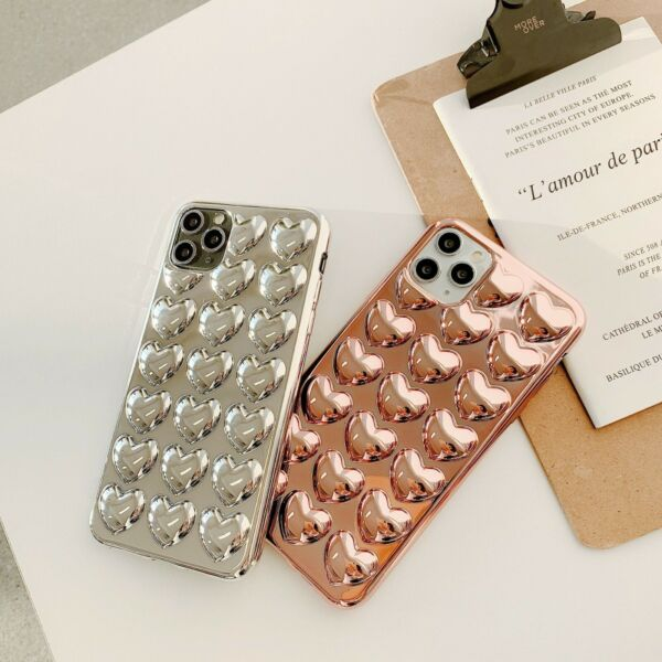 3D Heart Phone Case Silicone Luxury Plating Love Cover For iPhone 11 X XS XR 8 7 $14.35