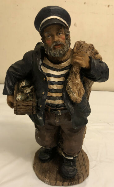 Vintage Carved Painted Wood Fisherman Captain with Fish Figurine