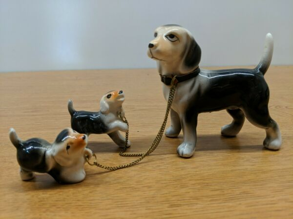 VINTAGE Porcelain Ceramic Dog MOM AND PUPPIES ON CHAIN LEASH FIGURE $19.95