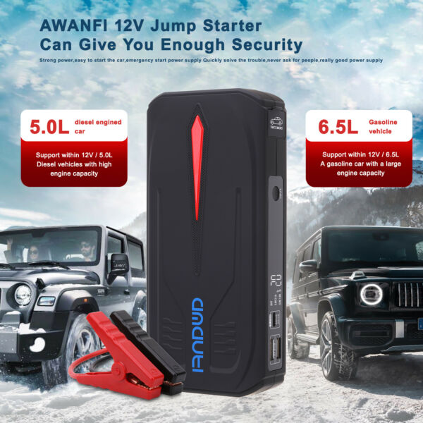 Car Jump Starter 12V 1200A Peak 18000mAh Auto Battery Booster Charger Power Pack $65.59