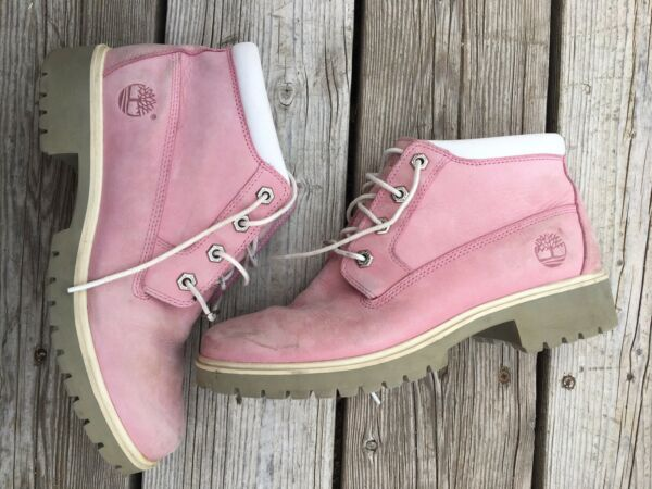 Timberland Pink Leather Laced Up Boots Size 8.5 Women's $49.99