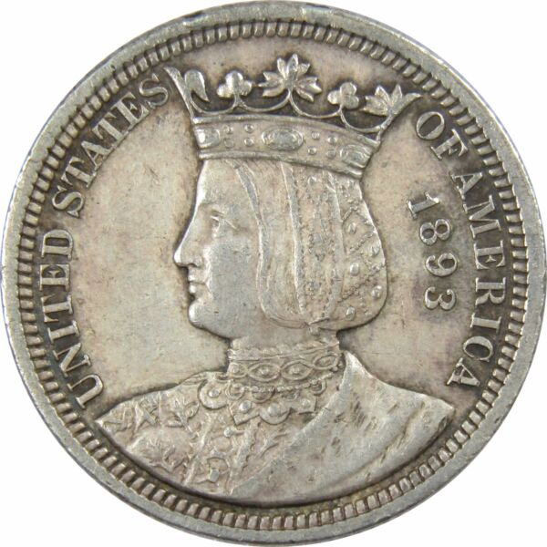 1893 World#x27;s Columbian Exposition Isabella Commemorative Quarter XF 90% Silver