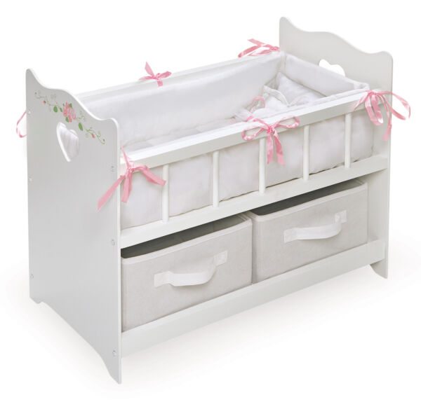 Baby Doll Crib Cradle W Bedding Dollhouse Furniture Fits 18quot; Dolls Girls Toys $55.01