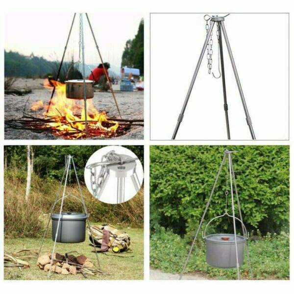 Outdoor Camping Tripod Campfire Picnic Pot Roast Fire Cooking Stand Al alloy US