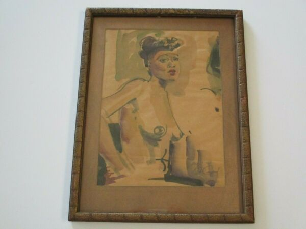RUTH OSGOOD PAINTING BLACK AMERICANA NUDE WOMAN WOMEN MODEL FEMALE 1940#x27;S LISTED
