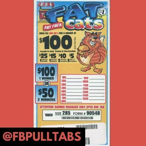 FAT PACK ONE DOLLAR PULL TAB GAME 285 COUNT 100 PROFIT ONE GAME ONLY